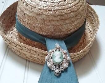 80s straw hat, summer, brim, NOS, brimmed hat, derby