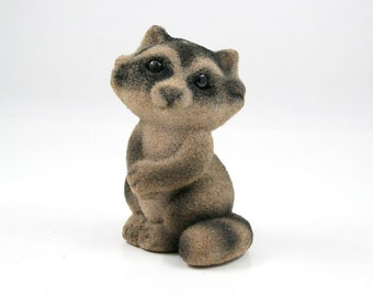 Flocked Raccoon Bank