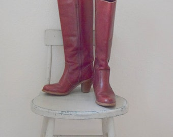 Oxblood / Red Leather 'Dexter' Knee High Round Toe Campus Boots - Women's 6