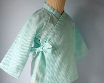 Mint Green striped baby kimono. Mint. Kimono child scratches. Blue mint. the flying panda