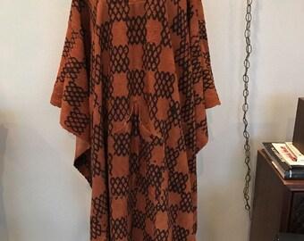 Vintage 60s 70s Ethnic African Batik Tunic Caftan Goddess Dress Mumu Boho Poncho