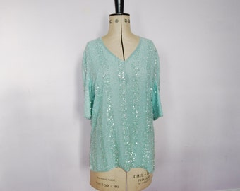 Vintage Frank Usher top - 80s sequin top - 80s Frank Usher top - Vintage sequin top - Vintage evening top - 80s top - Beaded top