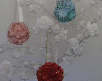 Hand Crafted Floral Decorative Kissing balls Available in 3 colours others made to order *Free P&P*
