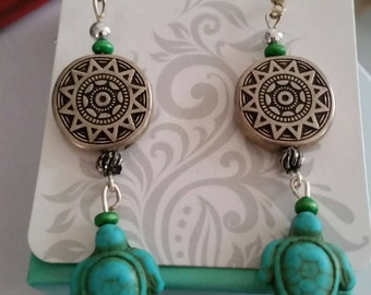 silver and turquoise turtle dangle earrings