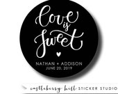 Love is sweet, sweet treat labels, cake labels, candy buffet stickers, pie labels, donut label candy favor bakery box label cookie bar label