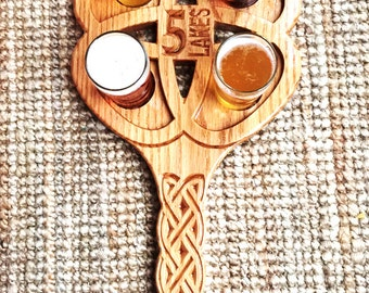 Celtic Design Wooden Beer Tasting Tray with 4 Glasses