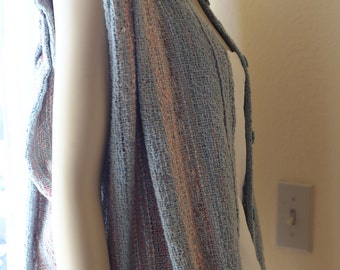 70s 80s Pink Blue Striped Terry Cloth Top Sleeveless Sz S M