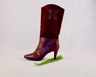 devil in disguise burgundy boots / 80s slouchy mid calf boots / boho boots / bohemian / oxblood boots / tall boots / knee high boots