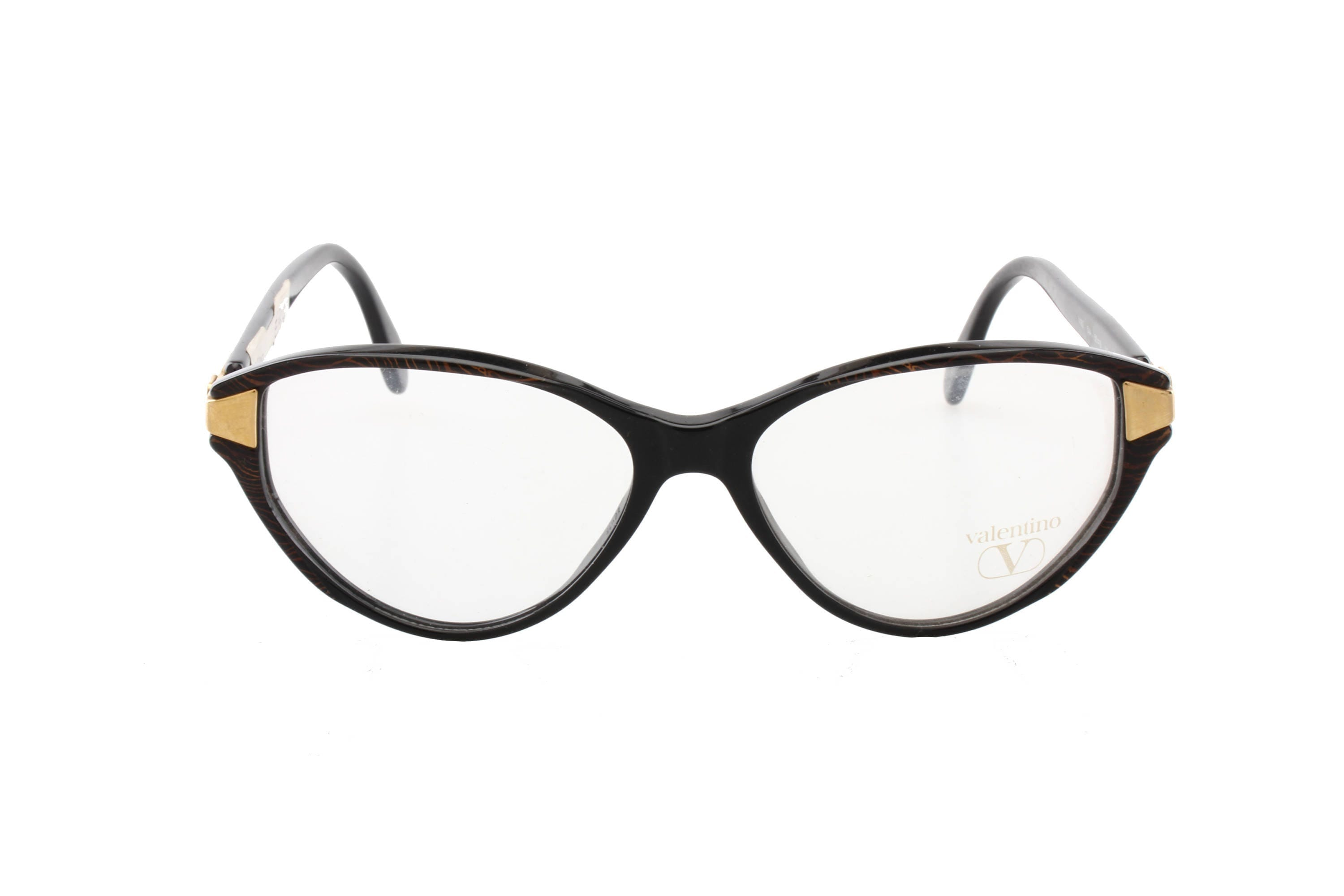 88e8bee0dd Valentino black   gold vintage cateye eyeglasses frames hand made in Italy