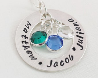Personalized Necklace / Necklace with Kids Names and Birthstones / Mom Necklace / Hand Stamped Necklace /  Washer Style Name Jewelry