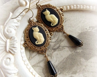 Gothic cat cameo earrings gothic victorian steampunk earrings bridal earrings dangling cat earrings hanging cameo earrings romantic earrings