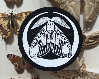 Screen Printed Moon Moth Sew on Patch