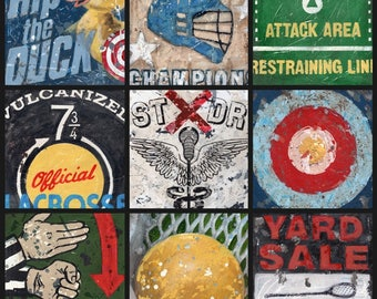 Lacrosse Wall Art Collage - Black Border Vintage style sports wall art by Aaron Christensen.  A perfect piece for Lacrosse Fans and Players.