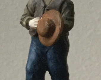 Dollhouse Miniature Resin Little Boy with Hat Statue  (BL)