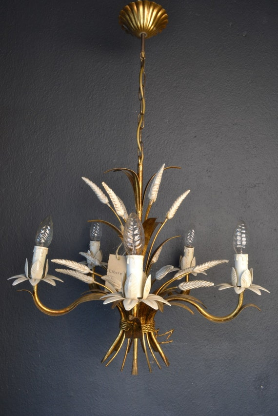 Italian Tole chandelier with sheaves of wheat