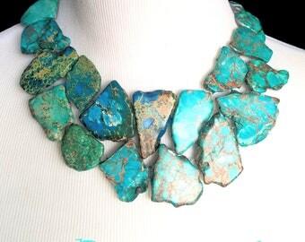 Teal Blue Statement Necklace- Teal Blue Bubble Necklace- Ocean Blue Necklace- Turquoise Blue Bib Necklace- Turquoise Statement Necklace