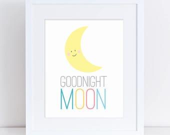 Goodnight Moon Art Print, GoodNight Moon, Yellow Moon Nursery Art, Moon Kids Poster, Goodnight Wall Decor, Goodnight Art, Kids Room Yellow