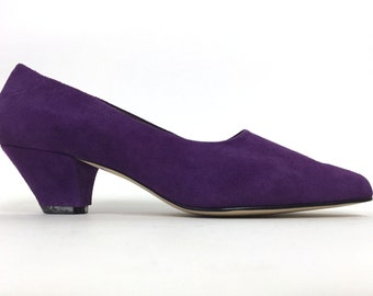 Vtg 80's Purple Suede Pumps SZ 7 1/2 7.5 7 - Nine West 9 & Co Minimal Kitten Heels 1980's Leather