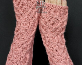 Hand Knitted Fingerless Gloves,  Pastel Pink, Long,  Clothing And Accessories, Gloves & Mittens, For Women, Christmas, READY TO SHIP