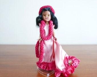 Poupée de collection : Tahitienne, vahiné, danseuse hawaïenne, années 50 1960 vintage tiki Tahiti figurine
