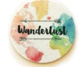 Wanderlust - Set of two super absorbent car coasters for your car cup holder - Wine Coasters - Wanderlust Car Coasters - Free Shipping