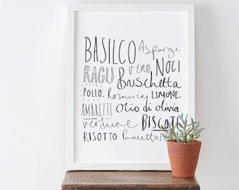 A3 Italian kitchen print - Italian food print - Hand lettered print