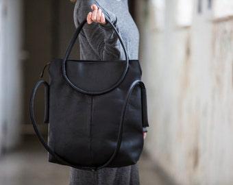 Black leather bag, Leather shoulder bag, leather bag, women handbag, handbag tote, large leather bag, black leather handbag, everyday bag