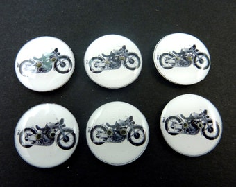 "6 Motorcycle Sewing Buttons.  3/4"" or 20 mm Handmade By Me Buttons. Vintage Image Motorcycle. Washer and Dryer Safe."