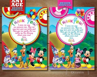 Minnie Mouse Clubhouse Thank You Card, Clubhouse Thank You Card, Mickey and Friends Thank You Card, Printable Thank You, Clubhouse Minnie