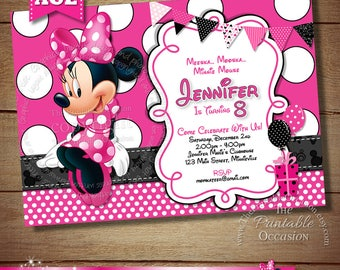 HUGE SELECTION Black Pink Polka Dot Minnie Mouse Birthday Invitation, Printable Birthday Invitation, DIY Minnie Mouse Birthday Invitation