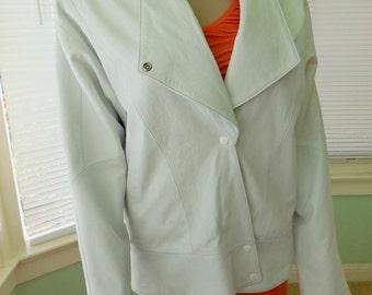 Leather Jacket Sale/WHITE LEATHER/Vintage Leather Jacket/LeatherJacket/White Leather Coat/BONNIE Cashin/80s Vintage Leather Jacket/Medium