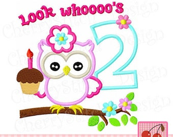 Look Whoooo's 2, Birthday owl Machine Embroidery Applique  -approximate 4x4 5x5 6x6 inch