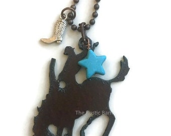 BRONC WESTERN with boot charm Necklace made of Rustic Rusty Rusted Recycled Metal