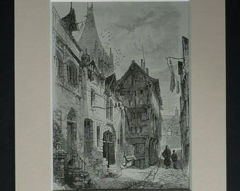 1880s Antique Herbert Railton Print, Street Picture, Available Framed, France Art, Normandy Decor, French Gift, Rouen Cathedral Architecture