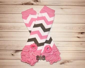 LEG WARMER SET-Boutique Style-Ruffled Leg Warmers, Pink and Grey, Chevron Leg Warmers-Shabby Chic-Baby Leg Warmers-Infant Leg Warmers-Baby