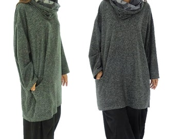 HS200DGR plus size sweater layered look tunic Turtleneck Gr. dark grey 40-52