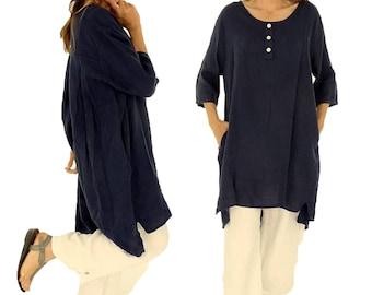 IA300DBL ladies linen tunic shirt vintage gowns short sleeve oversize dark blue Gr. 38 40 42 44 46 48