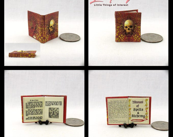 MANUAL Of SPELLS And ALCHEMY Miniature Book Dollhouse 1:12 Illustrated Readable Book Dimensional Skull Wizard Witch Fortune Teller Potter