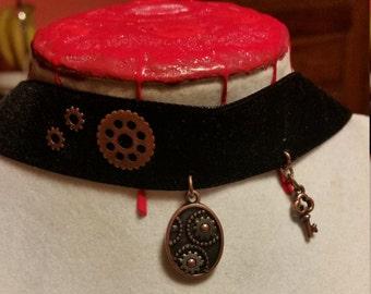 Steampunk Gears & Key Wide Ribbon Choker