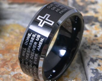 The Lords Prayer Tungsten 8mm Black Plated Flat Top Beveled Silver Edges Mens Womens Wedding Ring Band ( FREE ENGRAVING ) AZ207