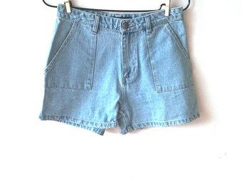 Vintage high waisted denim shorts, light blue denim shorts, vintage shorts, high waisted, vintage denim, S (GP50)