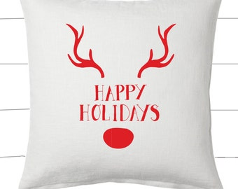 Red and White Happy Holidays Reindeer Christmas Pillow and Insert Christmas Decoration Christmas Saying Holiday Pillow Red White Christmas