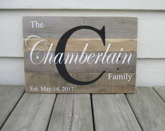 Wedding Name Pallet Wood Sign, Personalized Last Name Sign, Rustic Family Established Name and Date, Wedding Gift, Anniversary Gift