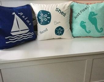 Coastal nautical beachy throw pillows
