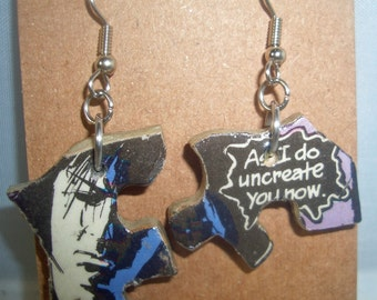 Sandman Comics Recycled Puzzle Dangle Earrings
