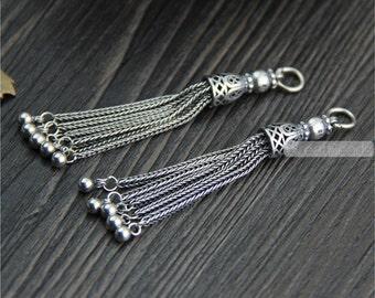1pc Thai Sterling Silver Tassel Pendant 55mm Solid 925 Silver Chain Tassel Vintage Style Sterling Silver Fringe Pendant LT07