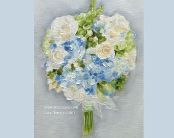 Custom Wedding Bouquet Painting in OIL by LARA 5x7