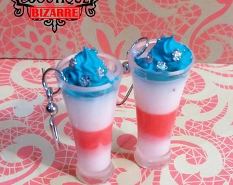 Miniature Fourth of July Tiny Drink Red white and blue frosting with crystals, CHOOSE earrings necklace or charm, decoden, kawaii, fake food