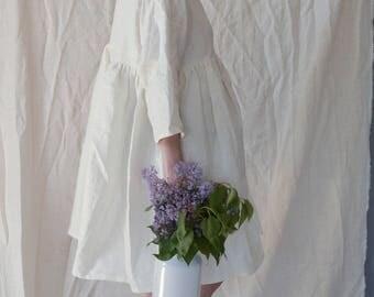 White Linen Ruffle Dress Size S/M
