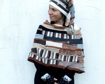 Sweet fantasy patchwork sweaters poncho ans hat hippie boho